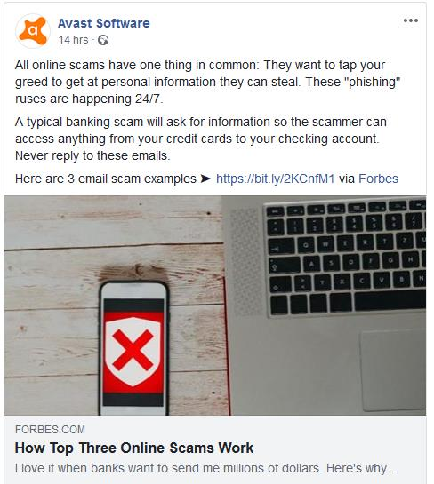 Avast Facebook post