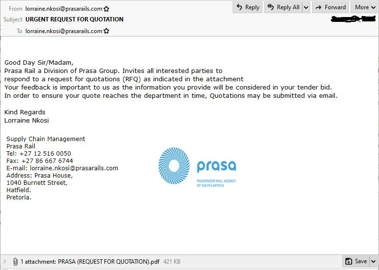PRASA spoof email with RFQ attachment
